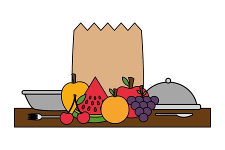 healthy food grocery bag fruits vegetables plate vector illustration Illustration