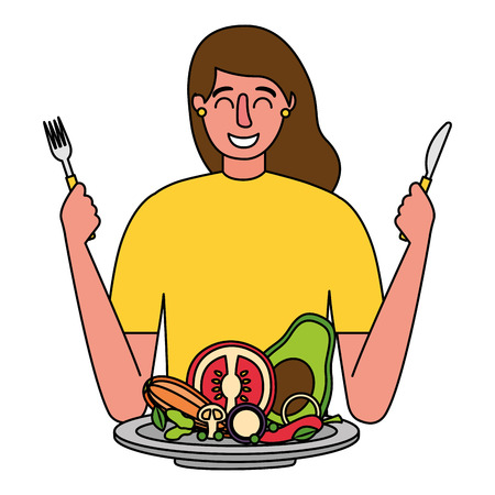 woman with fork and knife vegetable healthy food vector illustration Standard-Bild - 126820142