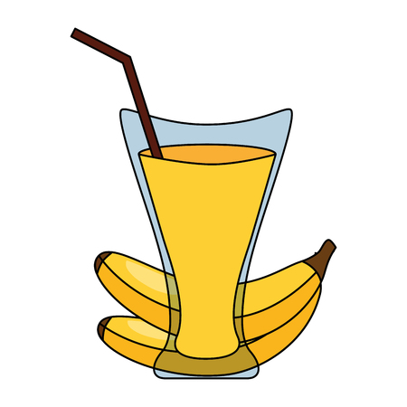banana juice cup with straw vector illustration Illustration