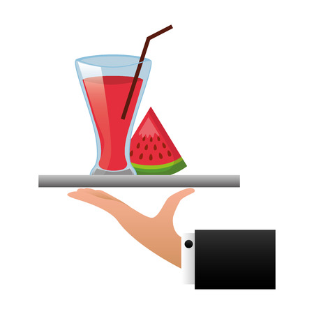 tray hand watermelon juice cup with straw vector illustration