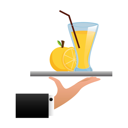 tray hand orange juice cup with straw vector illustration Illustration