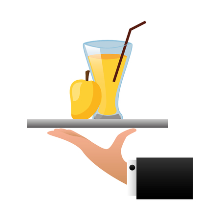 tray hand mango juice cup with straw vector illustration