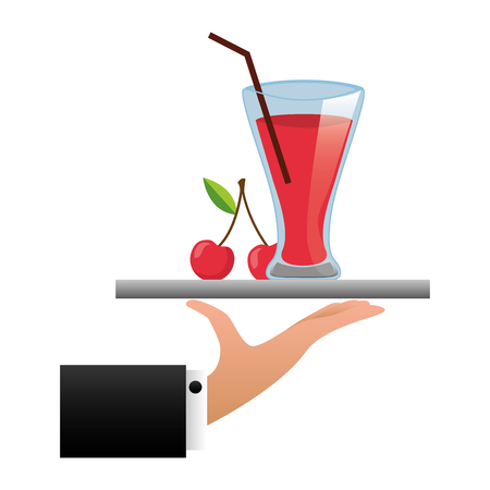 tray hand cherry juice cup with straw vector illustration Imagens - 126820149