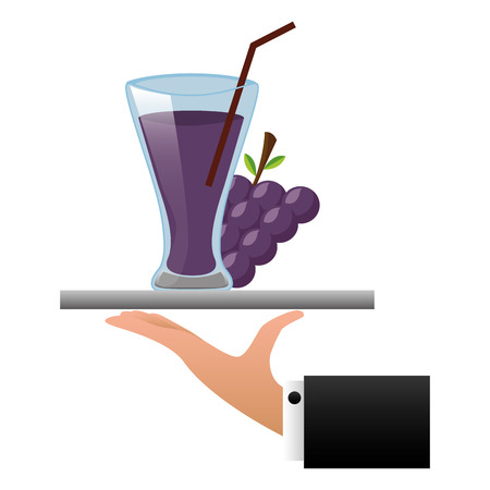 tray hand grapes juice cup with straw vector illustration