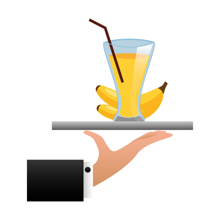 tray hand banana juice cup with straw vector illustration