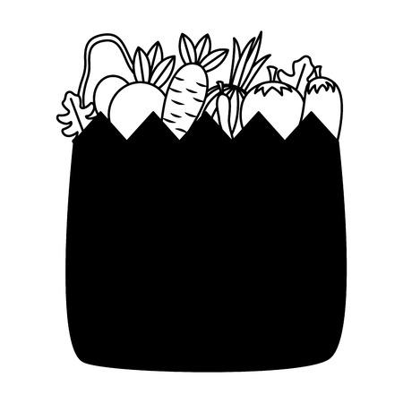 healht food grocery bag vegetable vector illustration