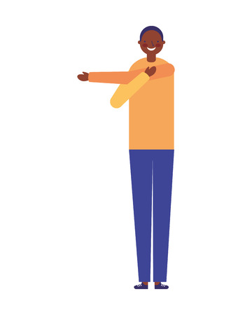 man stretching activity on white background vector illustration