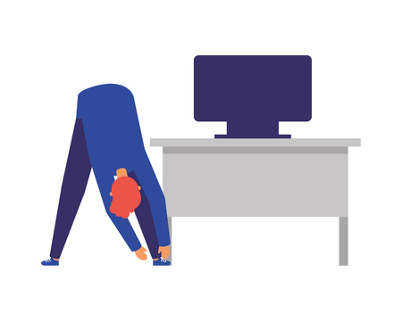 man active breaks in the office vector illustration