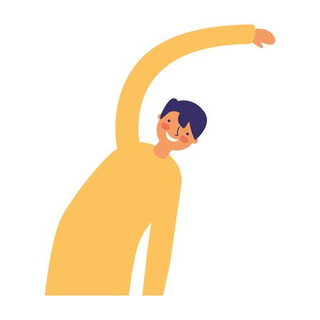 Hombre estirando actividad sobre fondo blanco ilustración vectorial
