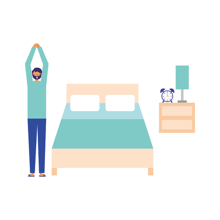 man stretching in the bedroom daily routine vector illustration
