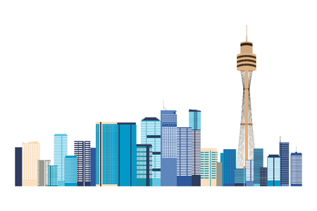 australia city buildings landmark panorama vector illustration