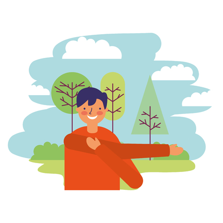 man stretching daily routine outdoors vector illustration