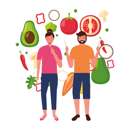 woman and man with vegetables healthy food vector illustration Standard-Bild - 126820204