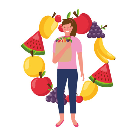 woman with bag grocery fruits healthy food vector illustration Banque d'images - 113812963