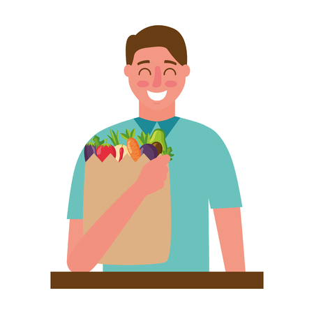 man with bag grocery healthy food vector illustration Stock Vector - 126820207