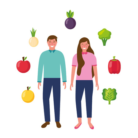 woman and man with vegetables fruits healthy food vector illustration