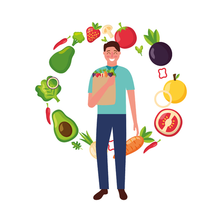 woman with bag grocery vegetables healthy food vector illustration