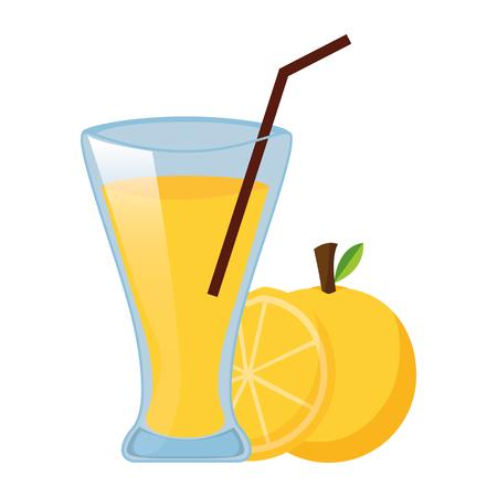 tazza di succo d'arancia con illustrazione vettoriale di paglia Vettoriali