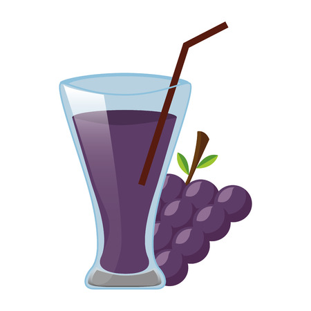 grapes juice cup with straw vector illustration