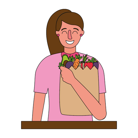woman with bag grocery healthy food vector illustration