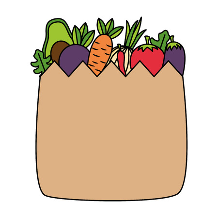 healht food grocery bag vegetable vector illustration