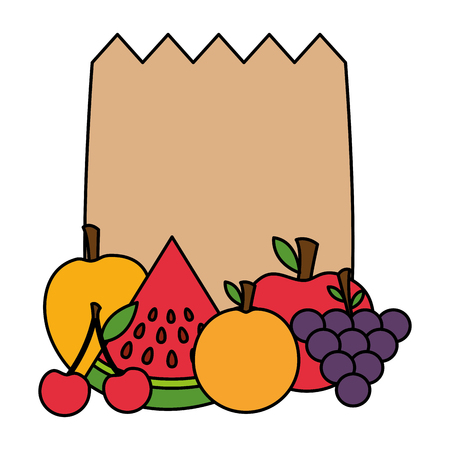 health food grocery bag fruits vector illustration Stock Vector - 113812967