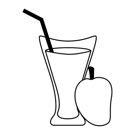 mango juice cup with straw vector illustration