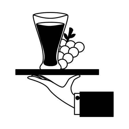 tray hand grapes juice cup vector illustration Ilustração