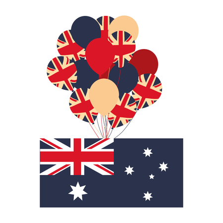 australia flag and balloons decoration vector illustration Ilustrace