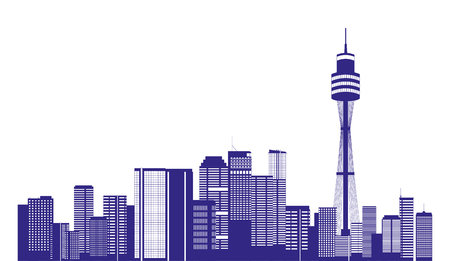 australia city buildings landmark panorama vector illustration 写真素材 - 126820226