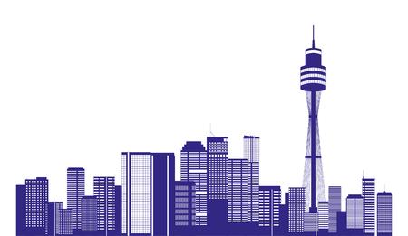 australia city buildings landmark panorama vector illustration