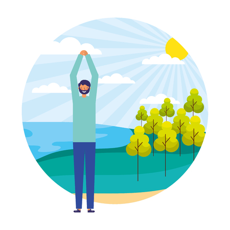 man exercises daily routine outdoors vector illustration