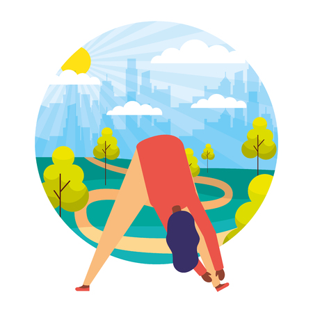 woman daily routine activity park vector illustration