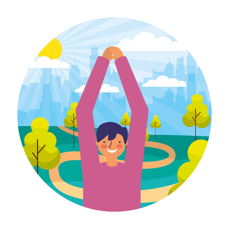 man daily routine activity park vector illustration