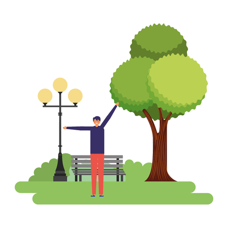 man stretching daily routine in the park vector illustration Imagens - 126820248