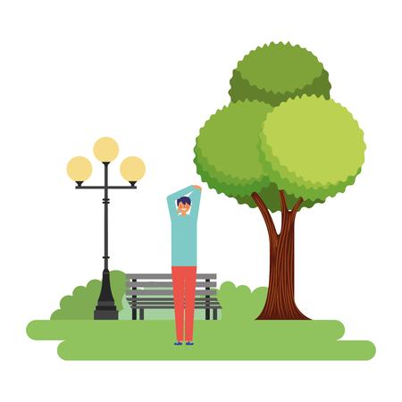 Hombre estirando la rutina diaria en la ilustración de vector de parque