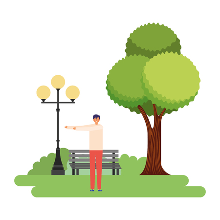 man stretching daily routine in the park vector illustration Imagens - 126820255