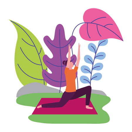 woman practicing yoga outdoors scene vector illustration