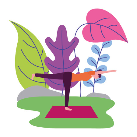 woman practicing yoga outdoors scene vector illustration