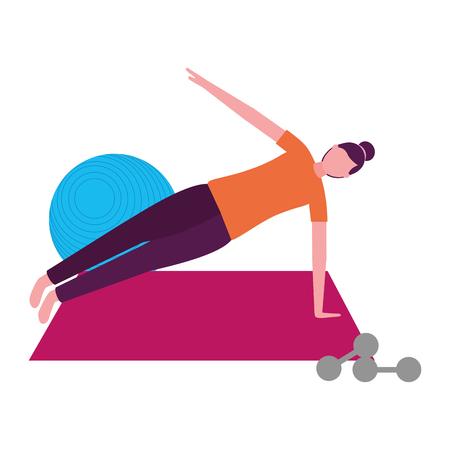 Frau, die Yoga mit Matte und Hanteln-Vektorillustration macht
