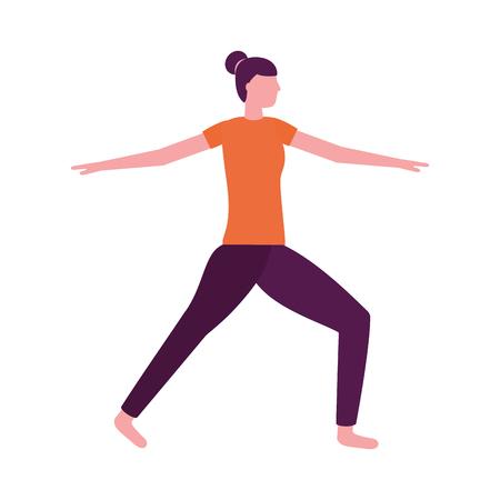 kobieta praktykująca joga postawa zdrowia ilustracji wektorowych