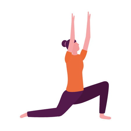 Mujer practicando yoga postura salud ilustración vectorial Ilustración de vector