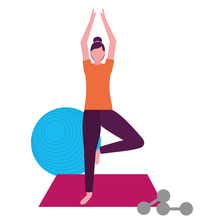 woman making yoga with mat and dumbbells vector illustration 일러스트