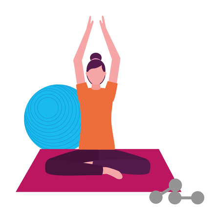 woman making yoga with mat and dumbbells vector illustration Illustration