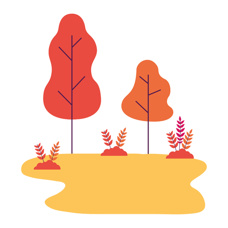 nature landscape tree bushes forest vector illustration Ilustracja