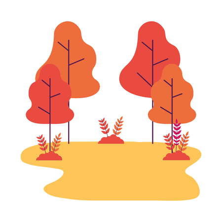 nature landscape tree bushes forest vector illustration Illusztráció