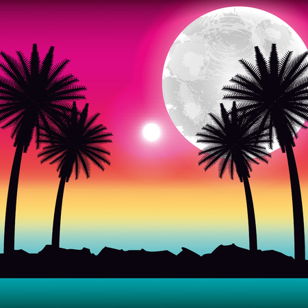tropical beach palms moon ocean scenery vector illustration Illustration