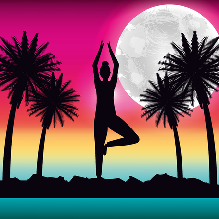 silhouette woman making yoga in tropical panorama vector illustration