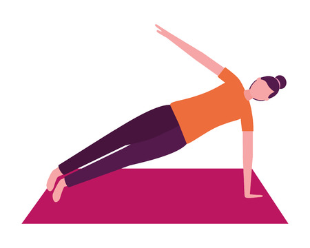 woman making yoga with mat vector illustration Illustration