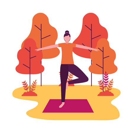 woman practicing yoga on mat in the park vector illustration Illustration